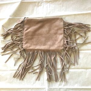 Handbags - Genuine suede fringe clutch